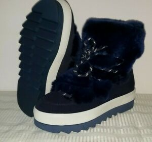 C8 New Cougar Vanity Suede Mid Street Winter Snow Boots Women 6 Black & Blue