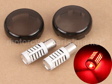 Rear Red 1156 LED 66 SMD Turn Signal Light Bulb w/ Smoke Lens For Harley Softail