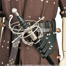 Medieval Renaissance Black Genuine Leather Rapier Sword Belt Frog Holder LARP