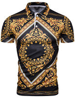Luxury Vintage Baroque Golden Flower Design Short Sleeve T Shirts Top Tees UK