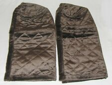 2 BROWN ARM REST COVERS PROTECTORS QUILTED CAPS CHAIR SOFA COUCH antimacassars