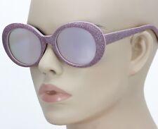 Men Women CLASSIC VINTAGE RETRO Style SUN GLASSES Pink Glitter Oval Pink Frame