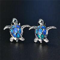 1 Pair Stud Woman Fashion Turtle Earring Blue Fire 925 Silver Charm Opal NEW