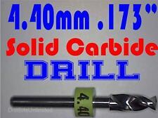 ".173"" 4.40mm  -Solid Carbide Drill Bit - 1/8"" Shank -Sharp! CNC Hobby Model -lu"