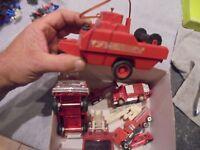lot camion entier ou épaves Pompier Plastique + Remorque Norev