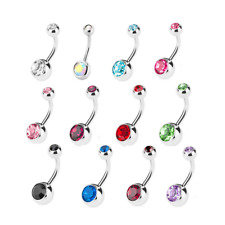 Belly Bar Rhinestone Double Crystal Gem Navel Surgical Steel Body Jewellery UK
