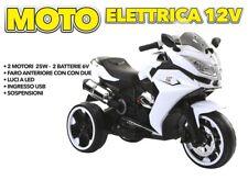 IDEA REGALO MOTO MOTOCICLETTA ELETTRICA DA CORSA SIMILE MOTO GP BIANCA CON LED