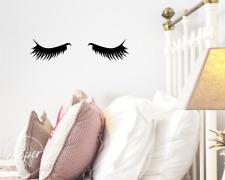 Sleepy Eyes Wall Decal Vinyl Sticker | Closed Eye Kids Nursery Decor | Eyelashes