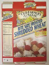 OLD FARMER'S ALMANAC Cereal Box 1997 BITE SIZE FROSTED SHREDDED WHEAT 20.4 oz