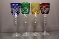 """FOUR (4) BOHEMIAN HUNGARIAN CRYSTAL WINE HOCK GLASS 9 1/4"""" COLOR CUT CLEAR MINT"""