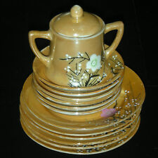 VINTAGE CHERRY BLOSSOM LUSTER TEA PLATES, SUGAR BOWL