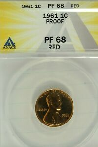 1961 Lincoln Cent : ANACS PF68RD  Blazing Red PROOF