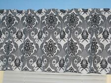 "Handmade 100% Cotton White Gray Black  Damask 14""x 42""  Topper Curtain Valance"