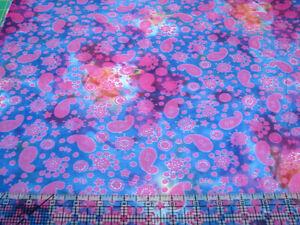 3 Yards Cotton Fabric - Benartex Paisley Everyday Batik Blue Pink & Purple