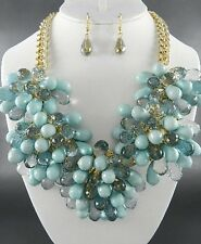 Muly Blue Lucite Bead Flower Look Chunky Necklace Earring Set