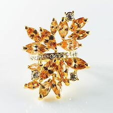 USA RING use SWAROVSKI CRYSTAL Fashion Gemstone Jewel Gold Brown Wedding Size 8