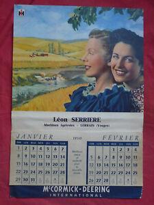 rare ancien calendrier 1950 IH Mc CORMICK-DEERING INTERNATIONAL LERRAIN VOSGES