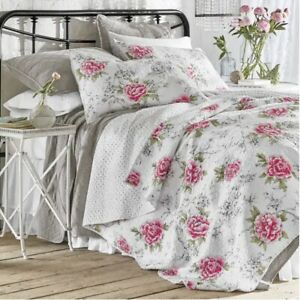 Country Door Shabby Chic Pink Floral Peony Reversible Polka Dot King Quilt NIP