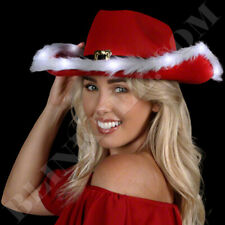 CHRISTMAS Light Up LED Cowboy Hat SANTA Costume party COUNTRY FUN