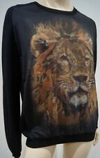 EMMA COOK noir laine mérinos et soie Lion Tapisserie Détail Pull Sweater Top UK14