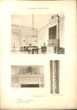 Salon des Huissiers Cheminée Chambranle Porte Château de Versailles GRAVURE 1899