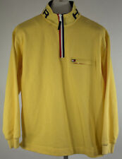 Tommy Hilfiger Vintage 90's 1/4 Zip Pullover Collar Spell Out Yellow Mens Size M