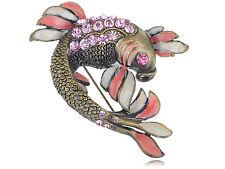 Light Rose Pink Crystal Rhinestone Enamel Paint Koi Carp Fish Fashion Pin Brooch