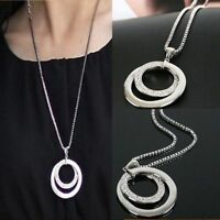 New Fashion Womens Crystal Rhinestone Silver Plated Long Chain Pendant Necklace
