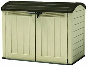 Keter Store-It Out Ultra Outdoor Plastic Garden Storage Bike Shed, Beige and