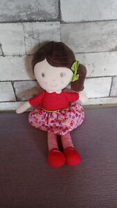 Doudou peluche poupée chiffon fille robe rouge rayures 32 cm Nicotoy Simba