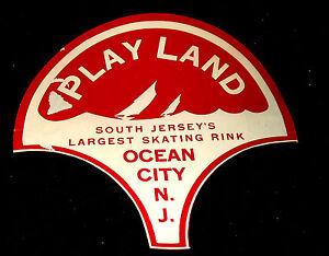 Vintage PLAYLAND SKATING RINK, OCEAN CITY N.J. ~ Roller Rink Sticker