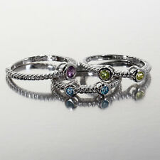 Sparkly Multi-Gemstone Stackable Ring in 925 Sterling Silver, Size 7, By Torello