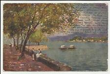 antica cartolina artistica illustrata da buscaglione si vede bellagio lago como