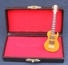 1:12 Scale Orange Guitar With A Black Case Tumdee Dolls House Instrument 563