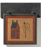 "RED SALTBOX WILLOW TREE PLAQUE PRIMITIVE WALL HANGING W/ PEG HOLDER 9 1/2"" TALL"