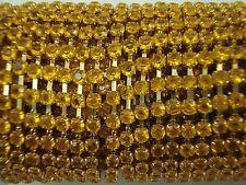 Acrylic 3mm Rhinestone Chain 1m Yellow/Gold Costume Sew Dance FREE POSTAGE