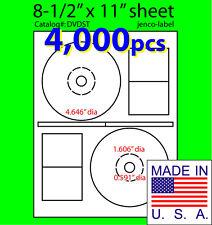 4,000 Stomper Compatible CD/DVD Labels, Matte White Laser InkJet