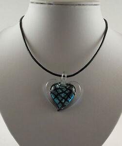 "Handmade Silver Foil glass heart pendants & black imitation leather 18""cords."