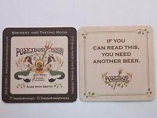 Beer Breweriana Coaster <> POSEIDON Brewing Co ~ Ventura, CALIFORNIA <> Mermaids