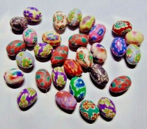 30 Polymer Poly Fimo CLAY Bead Mix ~Flower Design Oval EASTER Egg  10mm x 15mm