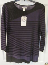 NWT Dana Buchman Purple Black Asymmetric Sweater 3/4 sleeve Sz S Purplest
