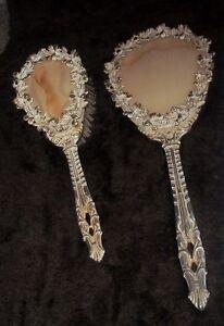 Antique Vintage Ornate Victorian Brass Vanity Hair Brush & Mirror Set