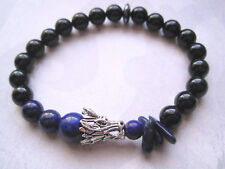 MENS DRAGON Lapis Lazuli & Black Onyx Gemstone Bead Stretch Bracelet Hematite