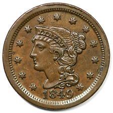 1849 N-1 R-4- Braided Hair Large Cent Coin 1c
