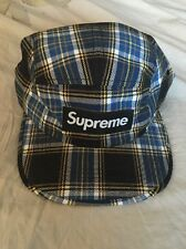 SUPREME BOX LOGO Plaid 5 PANEL CAMP HAT BLUE BLACK CAP FLANNEL New With Tags