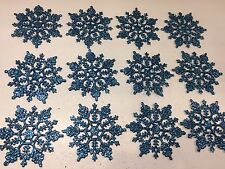 12 Teal Snowflakes Glitter Christmas Tree Ornament Winter Peacock Frozen
