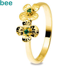 Lucky Emerald CLover Budget SHAMROCK 9ct Gold Rings Size P 7.75 25320/G