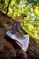 Beautiful custom handmade Damascus Steel engraved Viking Axe junkies throwing 4