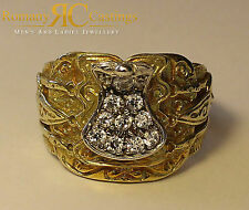 Ladies 9ct Solid Gold Polished Saddle Ring White CZ 16g Hallmarked 20 x 15 mm