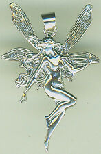 """925 Sterling Silver Small Fairy Faerie Pendant  Length 32mm 1.1/4"""""""